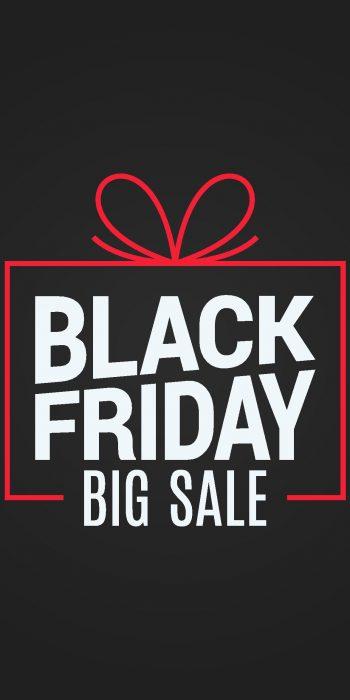 black friday sale gift box on black background 8 eps